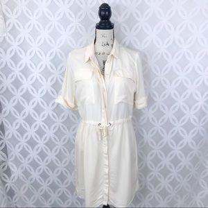 Topshop Cream Shirtdress With Drawstring Waist